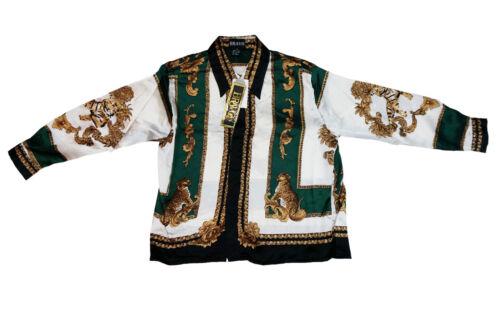 Kid/'s Silk Casual Shirt Tiger Design Long Sleeve