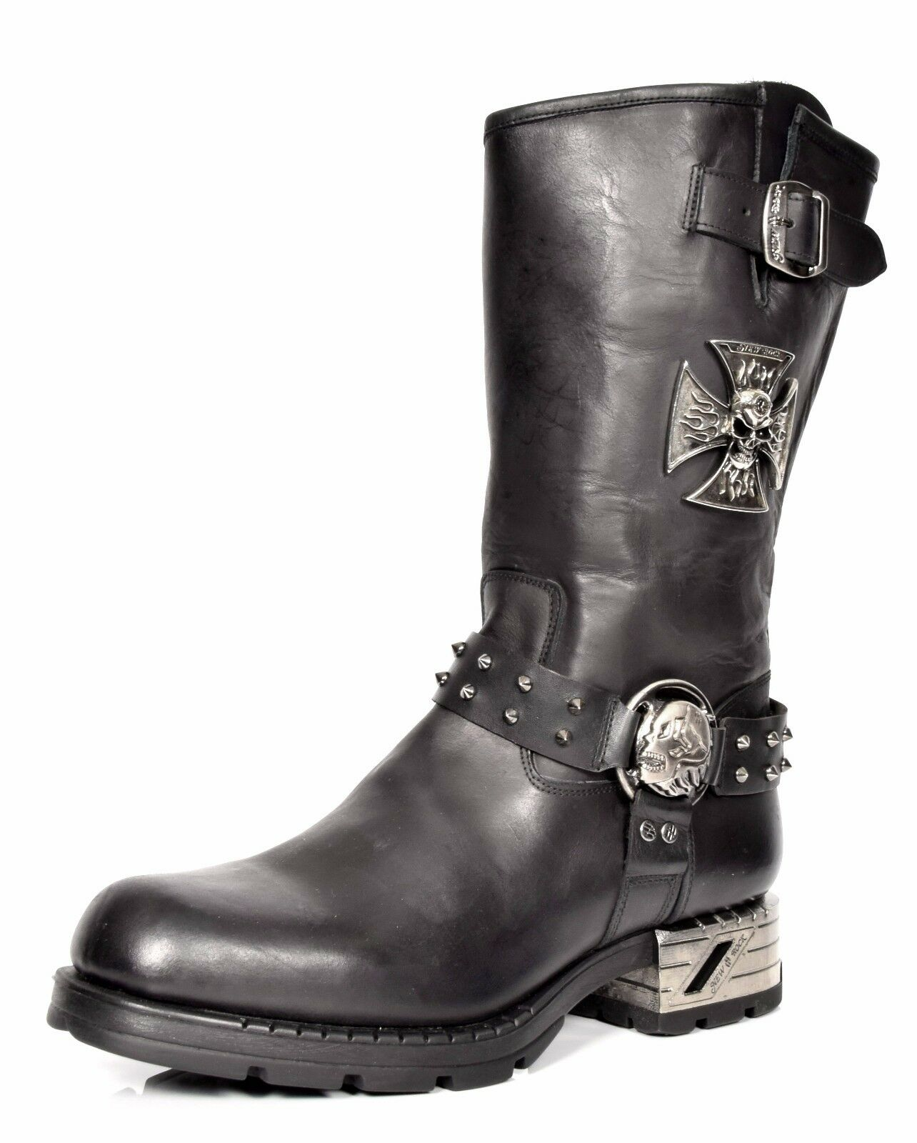 NEW ROCK 107-S1 RED SKULL DEVIL METALLIC METALLIC METALLIC BLACK LEATHER NEWROCK BOOT BIKER BOOTS 8df145