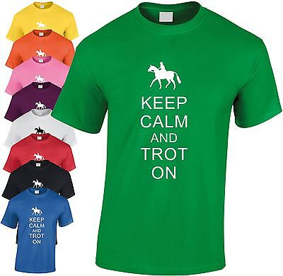 Keep Calm and Canter On Kids Children Crew Neck Tshirts Clothing