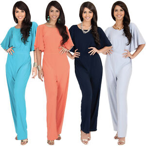 Womens-Short-Sleeve-Elegant-Wide-Leg-Long-Pant-Suit-Jumpsuit-One-Piece-Romper
