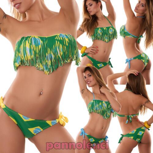 Bikini donna costume da bagno FRANGE fascia MONDIALI due pezzi nuovo 15641
