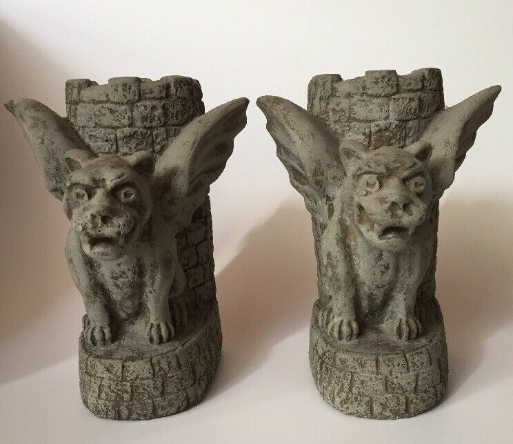 Gothic Gargoyle Bookends Stone Finish Dragon Book Ends