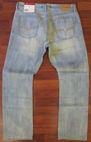 NEW Guess Slim Straight Leg Jeans Mens Size 36 X 34 Blue Distressed Light Wash