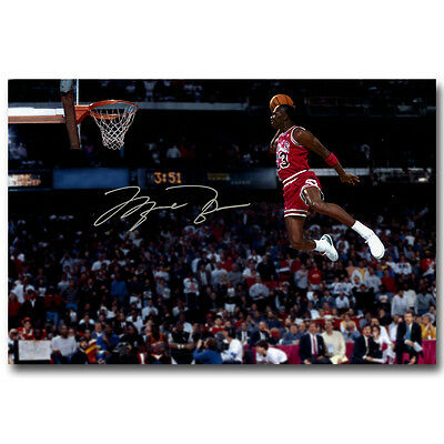 H751 MICHAEL JORDAN Dunk From The Foul Line Poster Silk Decoration