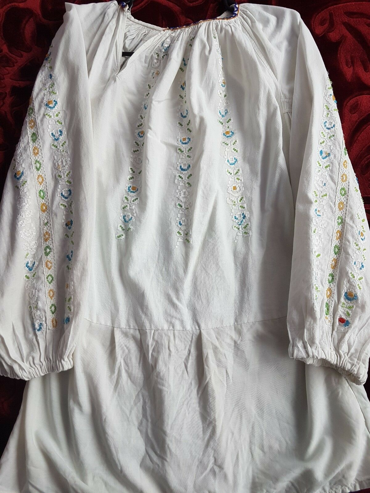 VINTAGE hand embroideROT Romanian blouse with beads