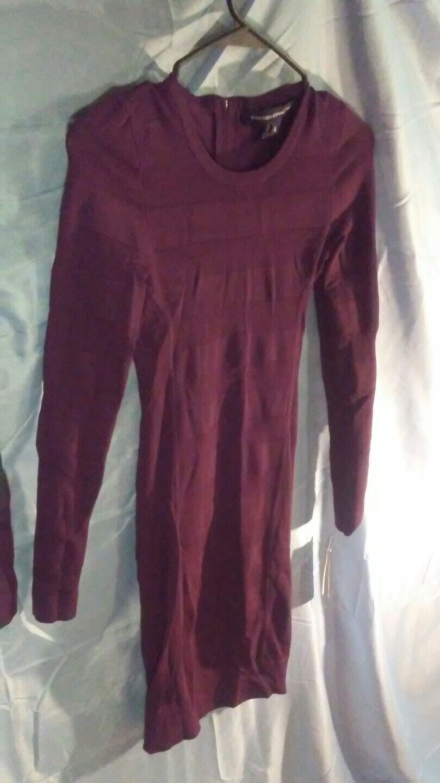 French Connection Long Sleeve Stretch Bandage Bodycon Dress lila sz 4 NWT