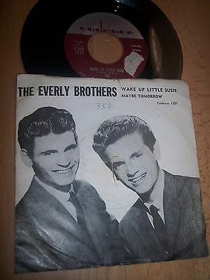 "VG+ The Everly Brothers Wake Up Little Susie / Maybe Tomorrow 7"" 45RPM w/pic slv"
