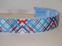 Blue Red Plaid Non Slip Headband Adjustable No Slip Sweaty Sports Hair Bands