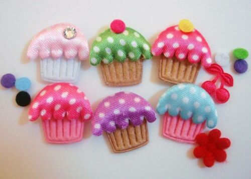 110 DIY Felt//Satin Polka Dot Little Cupcake Applique//Craft//Trim//Padded//Baby H301