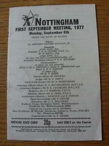 05091977 Horse Racing Racecard  Nottingham Light Crease Notes Inside - <span itemprop=availableAtOrFrom>Birmingham, United Kingdom</span> - Returns accepted within 30 days after the item is delivered, if goods not as described. Buyer assumes responibilty for return proof of postage and costs. Most purchases from business s - Birmingham, United Kingdom