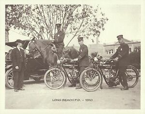 """LONG BEACH POLICE DEPT 1910 Horses INDIAN MOTORCYCLE Photo Print #1427 11"""" x 14"""""""