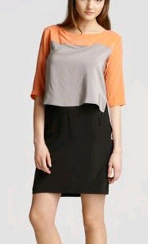 348 BCBG TANGELO orange COMBO  MARA  SHORT SLEEVE SILK DRESS NWOT XXS