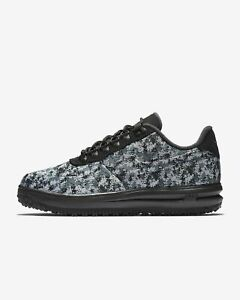 130fe693b609f Nike Lunar Air Force 1 Duckboot Low TXT SNOW DIGI CAMO BLACK GREY ...