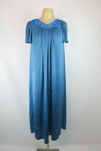 Shadowline-Long-Blue-Floral-Yolk-Nylon-Nightgown-Flowy-VTG-80s-Sz-M-USA-MADE
