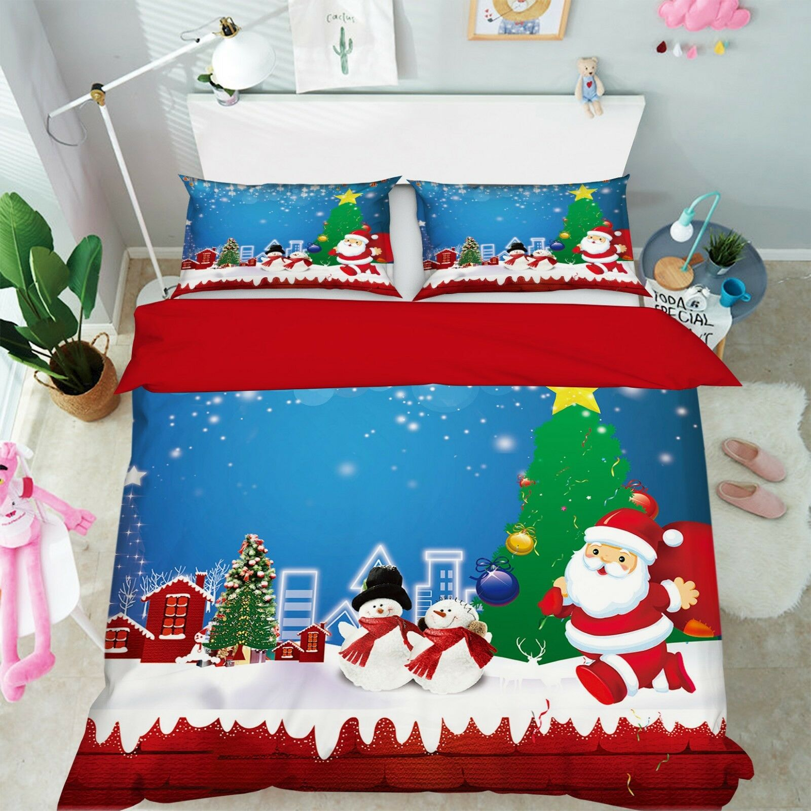 3D Christmas Xmas Sky 7 Bed Pillowcases Quilt Duvet Cover Set Single Queen AU