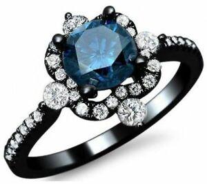 1 80 Ct Ladies Black Gold Over Blue Diamond Women S Bridal Engagement Ring Ebay