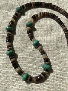 747-Vintage-1970s-Heishi-Turquoise-Beads-Sterling-Silver-Bench-Beads-Clasp