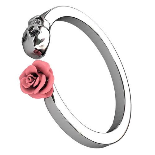 Mode Damen Vintage Rosa Blumen Schädel Kopf Tod Form Ring Schmuck Geschenk
