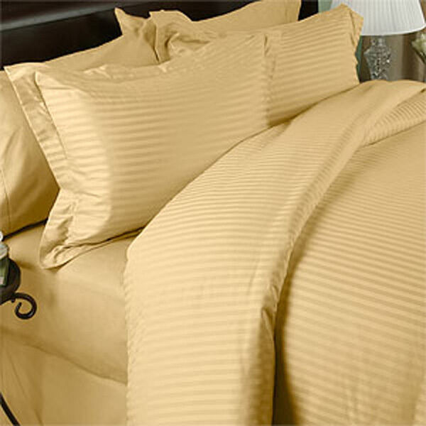 1200 Thread Count 100% Egyptian Cotton 1200 TC Bed Sheet Set KING Gold Stripe