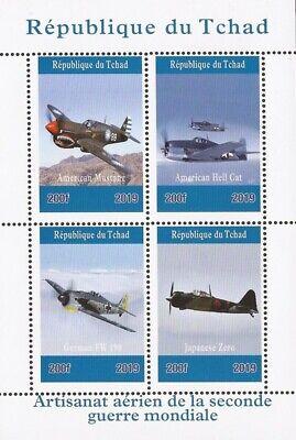 Besorgt Chad 4 Briefmarke Blatt 3b-639 2019 World War Ii Flugzeug