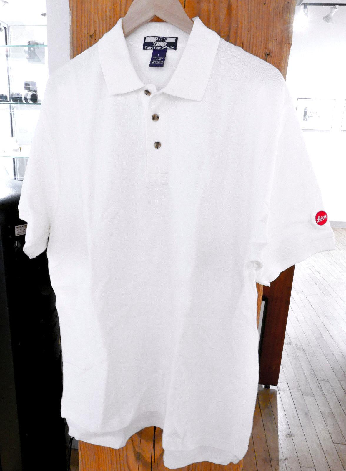 Mens White Short Sleeve Leica Red Dot Polo