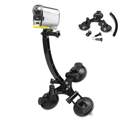 1xTriple Suction Cup Mount+Extension Arm For Sony Action HDR-AS15/20/30/100/200V