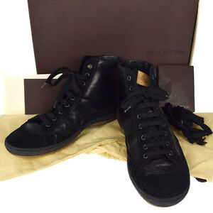 ee23a88ae436 Authentic LOUIS VUITTON Men s Shoes Sneakers Leather  6 1 2 Black ...