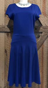 CACHE-Sz-10-Bright-Blue-Fit-amp-Flare-Knit-Dress-NEW-All-Season