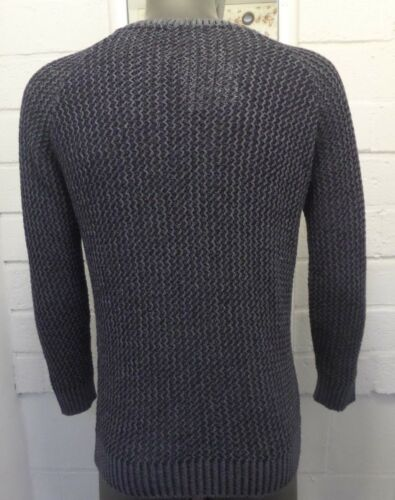 Men New Navy /& Stone Two Tone Effect Warm Crew Neck Long Sleeve Jumper Top M L