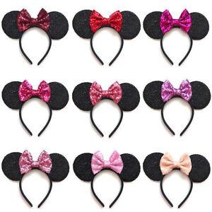 Rose Gold Blue// Silver Minnie Mouse Ears Headband Disney Red// Rainbow