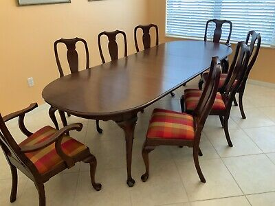 Henkel Harris Cherry Queen Anne Dining Room Table And 8 Chairs Ebay