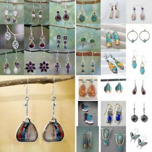Vintage-Silver-Crystal-Ear-Hook-Stud-Dangle-Drop-Earrings-Women-039-s-Jewelry-Gifts
