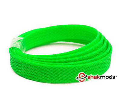 5 meter Shakmods Flat 10 mm High Density UV Green Braided Expandable Sleeving