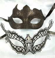 Black Gem Laser Cut Venetian Mask Masquerade Ball Halloween Couple Set