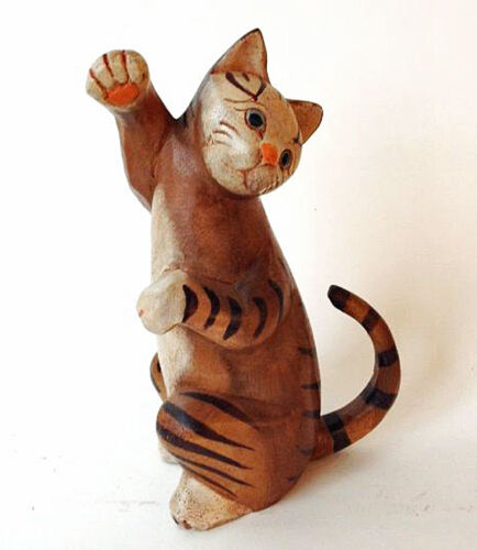 "CATS /""CAT AT PLAY/"" WOODEN CAT SCULPTURE CAT FIGURINE"