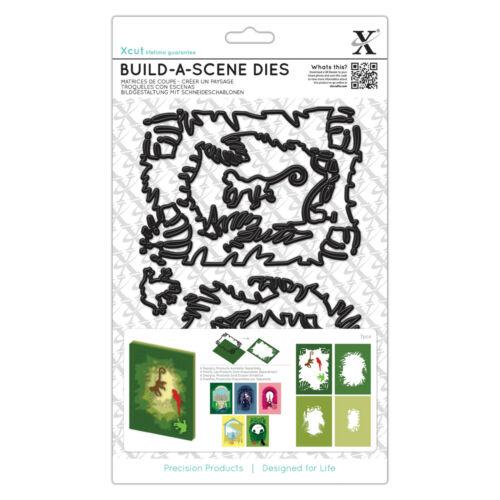 Xcut A5 Shadow Box Build a Scene die set Jungle monkey parrot tree frog