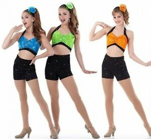 Come-And-Get-It-Dance-Costume-Crop-Top-w-High-Waisted-Shorts-CHOICE-Color-amp-Size