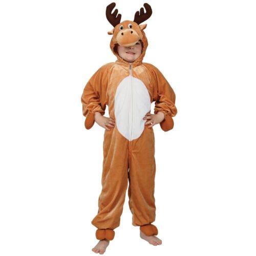 Childrens Reindeer Costume Christmas Fancy Dress Nativity Jumpsuit Boys Girls