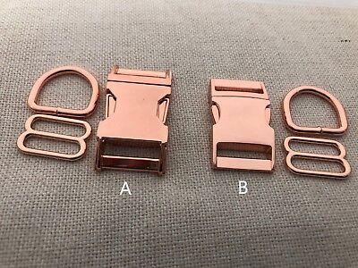 25 Sets Dog Collar Hardware Kits-Metal buckle sets 25mm Rose Gold A-B, 1/'/'