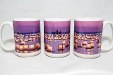 15 oz. Coffee Mug w/ Floating Lanterns in Honolulu, Hawaii pink water gift art