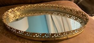 Vintage-Mirror-Vanity-Tray-Perfume-Small-Brass-Gold-Tone-Oval-Gold-Filigree-WOW
