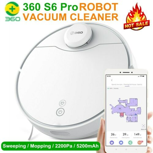 360 S6 Pro Smart Robot Vacuum Cleaner 2200Pa Mopping Alexa App Remote Control AA
