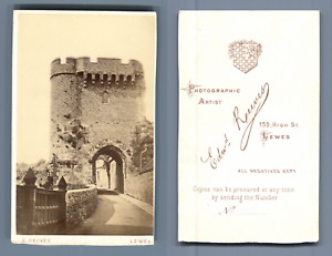 Reeves-Angleterre-le-chateau-de-Bray-a-Lewes-CDV-vintage-albumen-Tirage