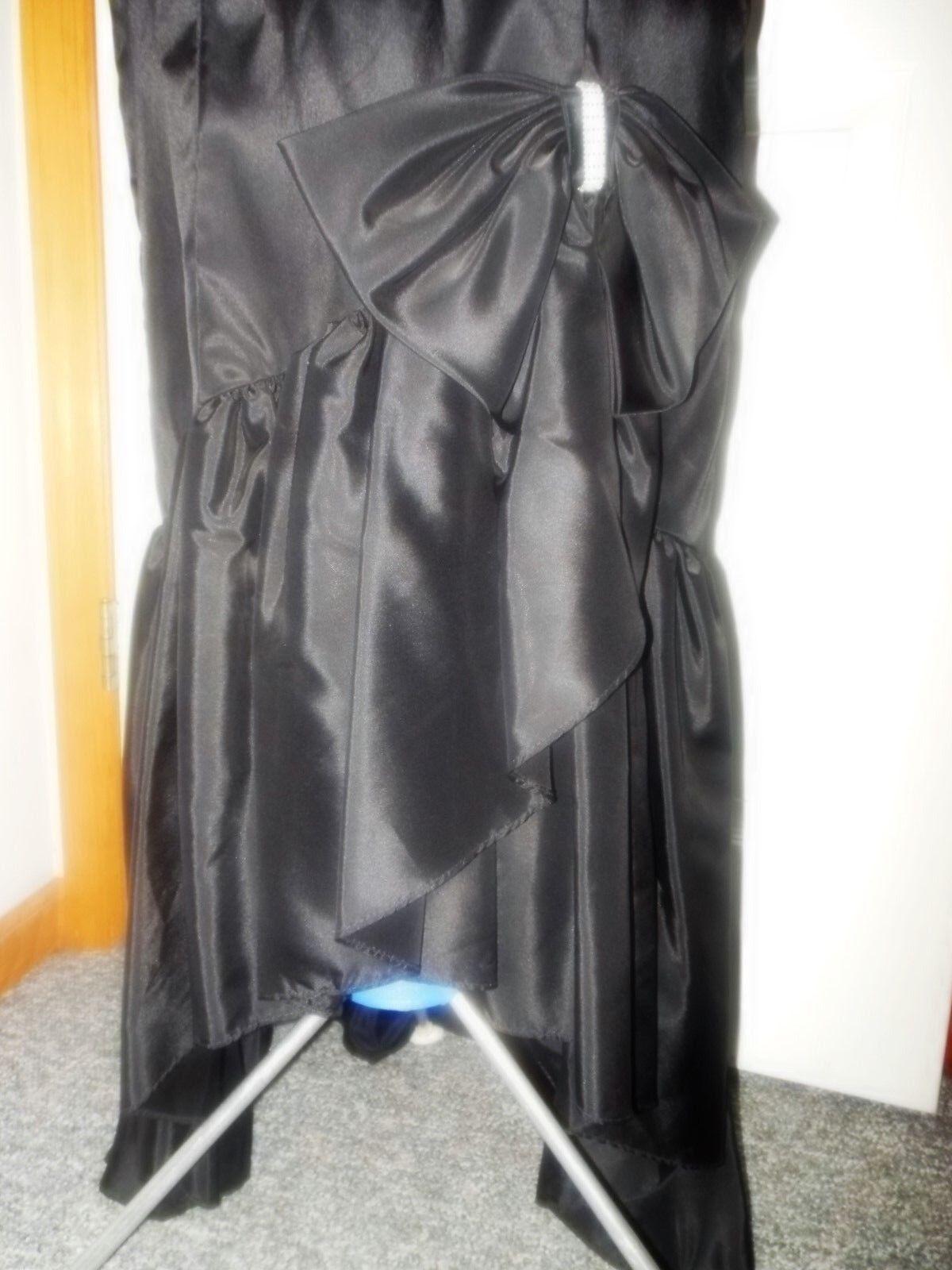 Vtg 80's Black Satin Pouf Sleeve Off Shoulder Ruf… - image 3