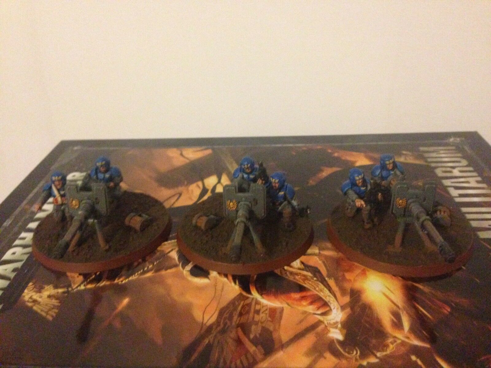 Warhammer 40k Imperial Guard Heavy Weapons Team Autocannons X 3 Pro Painted 2