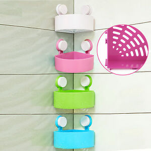 Image Is Loading Bathroom Corner Shelf With Suction Shower Rack Organizer