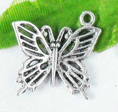 Wholesale 25/55Pcs Tibetan Silver  Butterfly  Charms   20x19mm(Lead-free)