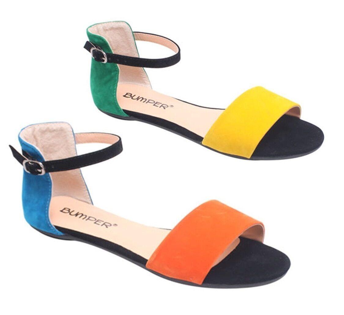 NEW Women's Color Block Ankle Strap Open Toe Flats Orange 9 Yellow Size 5.5 to 9 Orange dac810