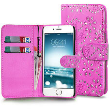 Diamante Bling Wallet Leather Case Cover + Stylus For Apple Iphone 6 6S