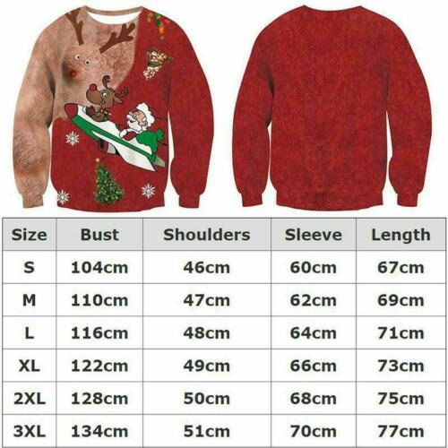 Mens Womens UGLY Christmas Sweater Sweatshirt Xmas Knitted Pullover Hoodie Gifts
